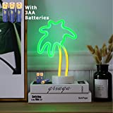 HONGM Coconut Palm Tree Neon Signs LED Neon Light Sign with Holder Base for Party Supplies Table Decoration Seasonal Home Decor Children Kid Gift