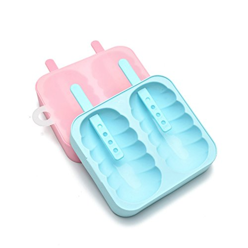 Coolfire Reusable Silicone Popsicle Molds Ice Pop Ice Cream DIY Maker, Set of 2 (set of 2, blue and pink)