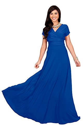 KOH KOH Women Long Cap Short Sleeve V-neck Flowy Cocktail Slimming Summer Sexy Casual Formal Sun Sundress Work Cute Gown Gowns Maxi Dress Dresses, Cobalt / Royal Blue M 8-10 (2)