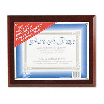 Nudell 18813M Award-A-Plaque Document Holder, Acrylic/Plastic, 10-1/2 x 13, - Nu Award Dell