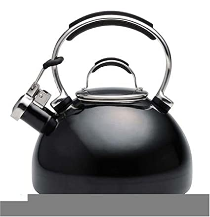 KitchenAid Teakettle 2-Quart Gourmet Essentials Porcelain Enamel Kettle,  Black