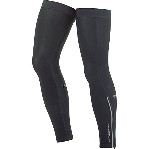 GORE Wear Unisex Windproof Leg Warmers, GORE Wear C3 GORE Wear WINDSTOPPER Leg Warmers, Size: L, Color: Black, ()