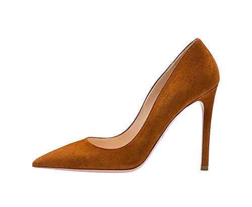 Guoar Kvinners Stiletto Store Størrelse Sko Spisse Tå Damer Solide Pumper For Arbeid Prom Kjole Partiet En-tan Semsket Skinn
