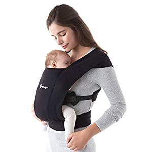 ErgobabyEmbraceBaby Carrier for Newborns from Birth with Head Support, Extra Soft and Ergonomic (Pure Black)