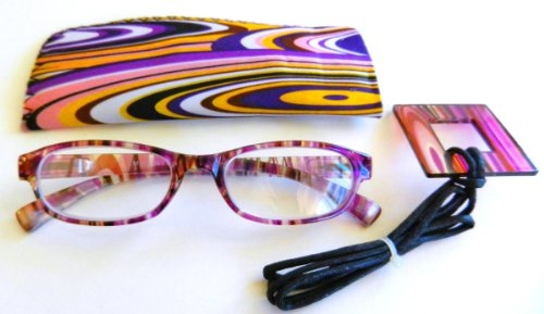 Foster Grant / Magnivision (+2.00) Purple Multi=Color Design Reading Glasses with Case - Sunglasses Magnivision