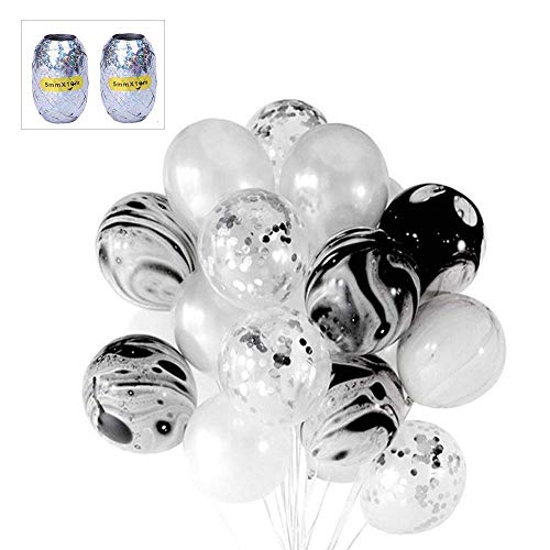 (Hi Young Latex Black Silver Balloons Set, 12 Inch Black Agate Marbled Balloons , Pearlescent Grey, and Clear Latex Balloons with Confetti for Birthday Party Decorations Baby Shower, with 2pcs 10M of Silver Curling Ribbon)