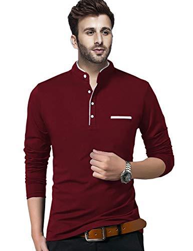 BLIVE Regular fit Solid Men's Henley Neck Full Sleeve Cotton Blend T Shirts