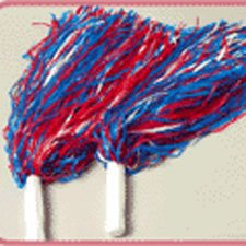 Lot of 12 Plastic Patriotic Pom Poms with White Handles -