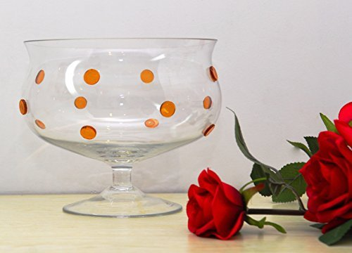- GAC Glass Trifle Bowl, Elegant Footed Glass Fruit Bowl with Gold Glass Dots, Size - 8 Inch