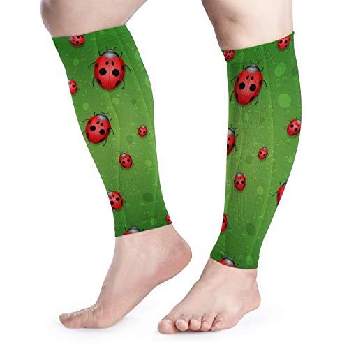 BLongTai Ladybug On Leaf Calf Compression Sleeve Men Womens Running Leg Sleeve for Shin Splint Muscle Pain Relief (1 Pair)