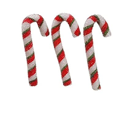 allstate peppermint twist sugared candy cane christmas ornaments 3 pack 55