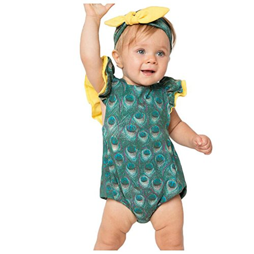 SHELLBOBO Baby Clothing Peacock Feathers Printed Romper Newborn Girls Clothes Cotton Jumpsuit (M(6-12M), (Peacock Baby)