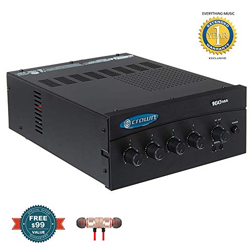 Crown 160MA Four-input, 60-Watt Mixer/Amplifier includes Free Wireless Earbuds - Stereo Bluetooth In-ear and 1 Year Everything Music Extended Warranty