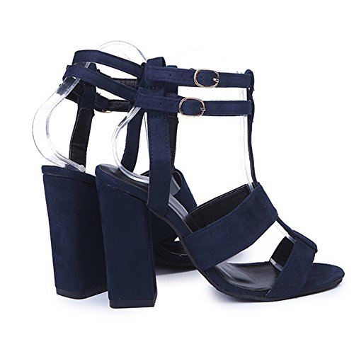 Highdas Womens Strappy Sandals Block High Heel Suede Ladies Ankle Strap Office Work Evening Party Sandal Shoes Blue qvrtbMJlwc