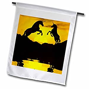 Renderly Yours Fantasy - Unicorns In Silhouette, Playing In Front Yellow Sunset - 18 x 27 inch Garden Flag (fl_53818_2)