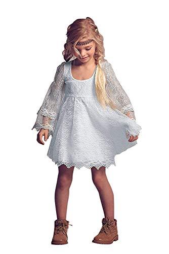 Carat White Flower Girl Lace Dress Little Girls Short Communion Dresses White Size 8]()