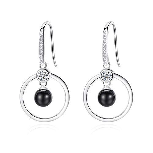 VANA JEWELRY Black Ball Hoop Earrings Women's Sterling Silver Hypoallergenic Earrings for Sensitive Ears Diamond White Gold Dangle Earrings Cubic Zirconia(CZ)Teen Girls Fashion Drop Hooks Earring Gift