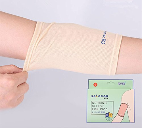 PICC Line Cover, PICC Nursing Sleeve Cast Protector for Adult Kids,(Weight: 88-210 Pounds), Breathable, Ultra-Soft, Beige (L)