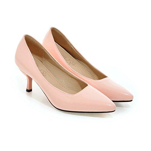 YL Frauen Niedrige Ferse Spitze Zehe Süßigkeit Farbe der Pumps Schuhe Pink