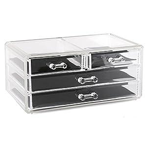 Estilo 100% Pure Acrylic Cosmetic and Jewelry Organizer, Storage Display Box