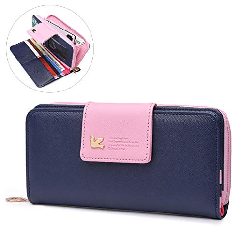 Ladies Wallet Purse, Women's RFID Blocking Large Capacity PU Leather Wallet Clutch Multi Card Holder Wristlet Phone Organizer Zipper Purse for Woman,Ladies,Girls(7.7x3.9x0.8 Inch)