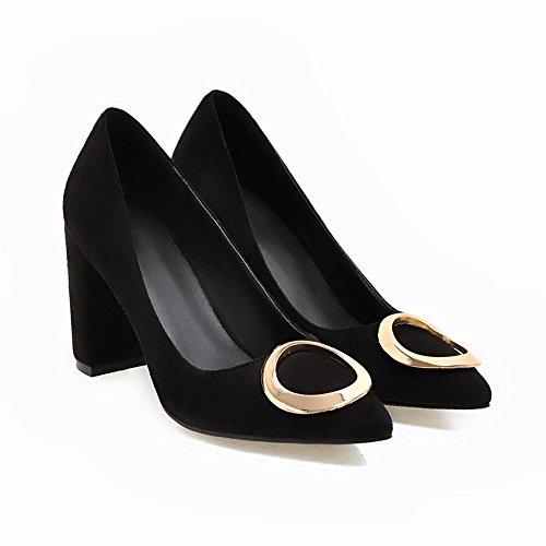 Carolbar Heels Office Toe Pumps High Black Lady Date Shoes Women's Pointed Hrx40SH