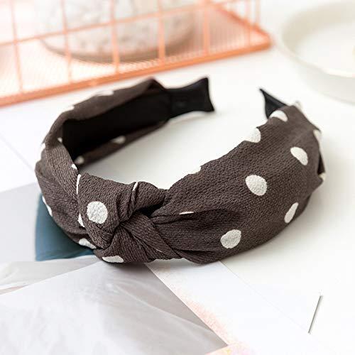 (Women's Cotton Linen Dot Solid Color Cross Elastic Headband Twist Knot Wide Print Headwear Hoop Hair Accessories dark Gray)