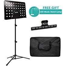Music Stand, ANKO Professional Collapsible Music Stand with Music Book Clip, LED Music Stand Lamp and Carrying Bag. suitable for Violin, Guitar, Flute and Instrumental Performance. (BLACK-1 PACK)