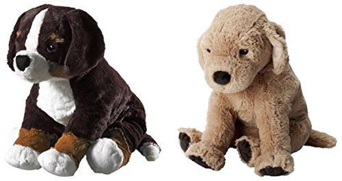 (Ikea HOPPIG Puppy Stuffed Soft Toy and GOSIG GOLDEN Puppet Bundle - Includes Ikea Hoppig Bernese Burmese Mountain Dog Puppy Soft Toy (14.25 Inch) and Ikea GOSIG GOLDEN Stuffet Plush Puppy Toy)