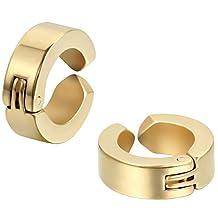 JewelryWe Pair of Huggie Hinged Hoop Earrings Non-piercing Clip on Earrings Unisex Men Women Boys (Colors Available) Christmas Decorations Ornaments Gifts