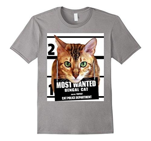 Mens Most Wanted Bengal Cat T-shirt - Cute Funny Feline Tee Shirt Large Slate