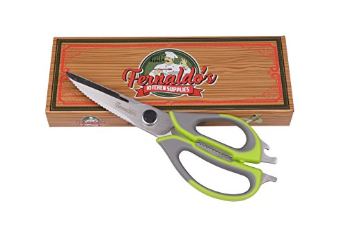 Multifunctional Kitchen Scissors Heavy Duty - Stainless Steel Comes Apart Easily, Dishwasher Safe. Sharp Food & Utility Shears For Herbs, Poultry, Meat, Fish, Pizza & Vegetables by Fernaldo's Kitchen Supplies