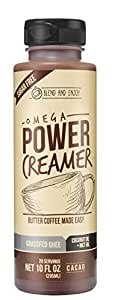 Omega PowerCreamer - CACAO - Made with Grass-fed Organic Ghee, Organic Coconut Oil, MCT Oil from 100% C8/C10, Organic Cacao Powder | Butter Coffee Blend | keto, paleo,10 fl oz (20 servings)