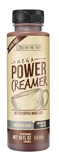 KETO SUPERFOOD - Omega PowerCreamer - CACAO - Made with Grass-fed Organic Ghee, Organic Coconut Oil, MCT Oil from 100% Coconuts, Cacao Powder | Butter Coffee Blend | keto, paleo,10 fl oz (20 servings)