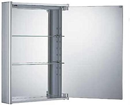 Whitehaus WHCAR-35-ALUM WHCAR-35 Single two sided mirrored door medicine cabinet with two adjustable glass shelves and mirror faced back wall – Aluminum