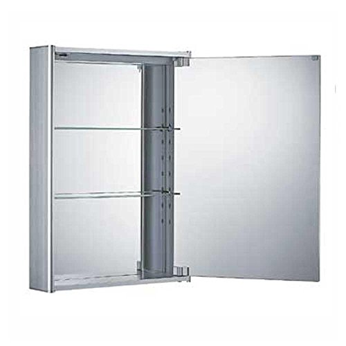 Whitehaus WHCAR-35-ALUM WHCAR-35 Single two sided mirrored door medicine cabinet with two adjustable glass shelves and mirror faced back wall - Aluminum