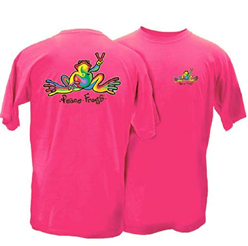Peace Frogs Retro Frog Adult Short Sleeve T-Shirt (Hot Pink, Medium)