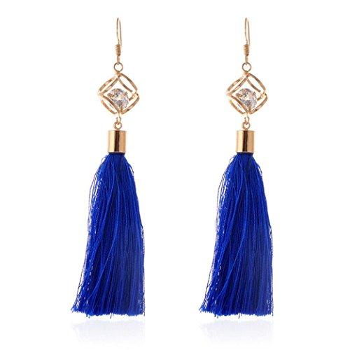 Bohemian Earrings, Paymenow Clearance Women Girls Tassel Long Drop Earrings Rhinestones Crystal Circle Wedding Party Hook Dangle Earrings Jewelry (Blue)