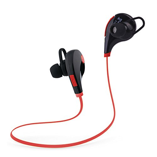 Tecart Racer A1 Bluetooth Headphones Wireless In-Ear Sports Earbuds w/Built-in Mic Sweatproof Headsets HD Stereo Noise Cancelling Headphones (RED)