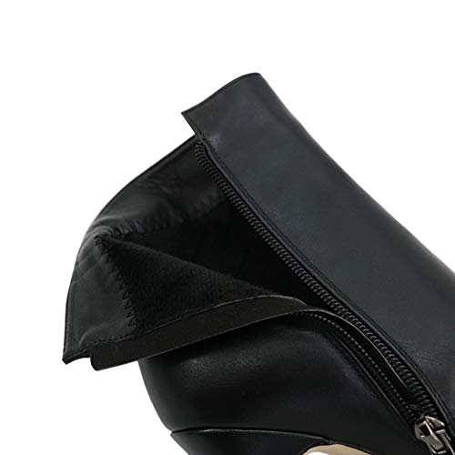 Platform Shoes Ankle High Women's Booties Short Boots Black Zipper MERUMOTE Pu Heels ZxR4Awq55