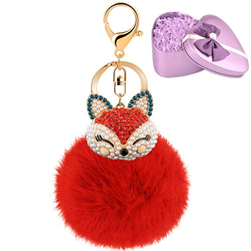 JOUDOO Fluffy Fur Ball Keychain With Gift Box Fox Head Pom Pom Keyring GJ020 (red)