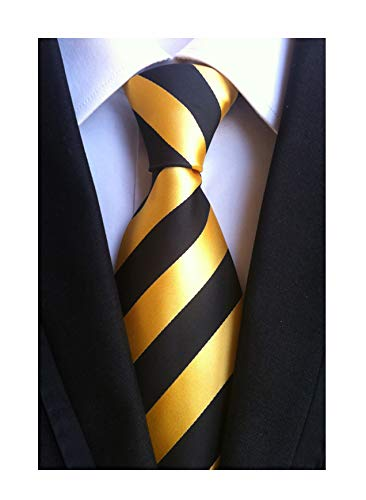 - Mens Black Gold Yellow Jacquard Woven Silk Clip on Ties Business Formal Neckties