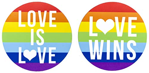 2-Pack Magnets for Gay Pride. for car Bumpers, refrigerators, fridges. Use for Lesbian Marriages, as an Ally Gift, or to Show Your Equality Rights. Large 5 inch Rainbow Flag, Magnetic Stickers. ()