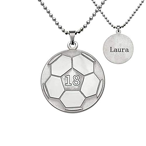 Personalized Football Nameplate Soccer Pendant Necklace 925 Sterling Silver Custom Made Name and -