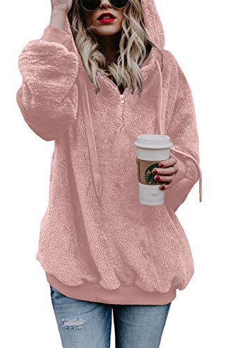 COCOLEGGINGS Adults Fuzzy Hooded Pockets Sweatshirt Fleece Pullover Tops Pink M