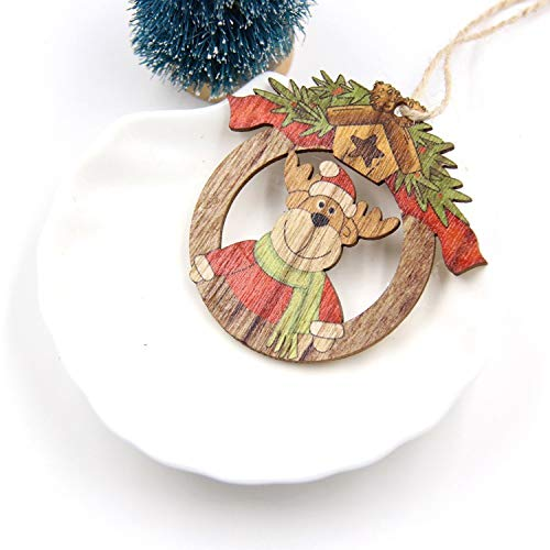 Mydufish Hot!1PC Creative Christmas Wooden Pendants Ornaments DIY Wood Crafts Xmas -