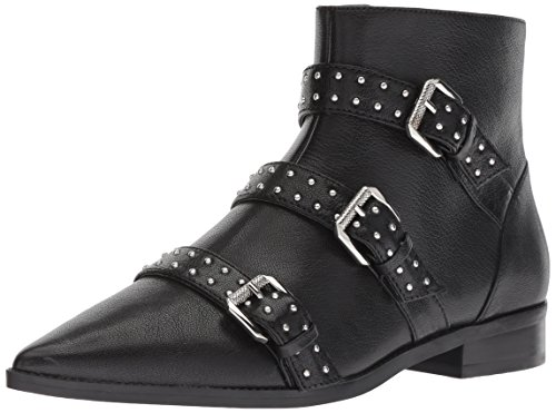 Nine West Women's Seraphim Leather Ankle Boot, Black, 9 M US