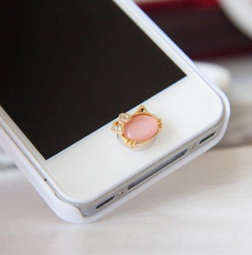 Cute Bling Rhinestone Crystal Diamond Cat face Phone Home Return Keys Buttons Sticker for Iphone 4s Iphone 5 Ipod Touch Ipad