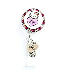 SIZZLE CITY New Custom Made Bling Rhinestone Hello Kitty ID Badge Pull Reel Retractable ID Badge Holders (Pink Hello Kitty RN with Love Charm)