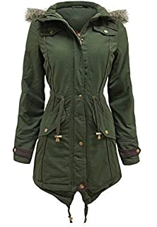 CANVAS PARKA NEW Womens MILITARY Ladies JACKET COAT PADDED Size 8 10 12 14 16